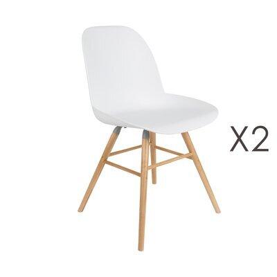 Lot de 2 chaises repas blanches et pieds naturels - KUIP