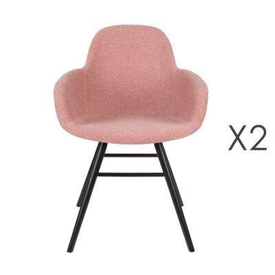 Lot de 2 chaises repas coque rose et pieds noirs - KUIP