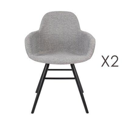 Lot de 2 chaises repas coque grise et pieds noirs - KUIP