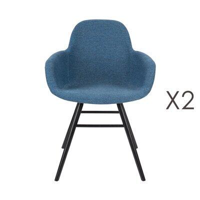 Lot de 2 chaises repas coque bleue et pieds noirs - KUIP