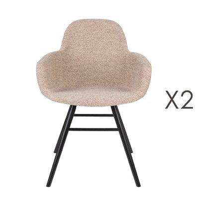 Lot de 2 chaises repas coque beige et pieds noirs - KUIP
