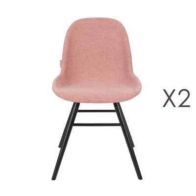 Lot de 2 chaises repas roses et pieds noirs - KUIP