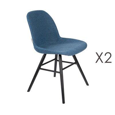 Lot de 2 chaises repas bleues et pieds noirs - KUIP
