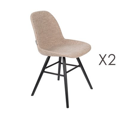 Lot de 2 chaises repas beiges et pieds noirs - KUIP