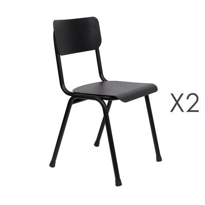 Lot de 2 chaises de jardin en aluminium noir - BACK TO SCHOOL