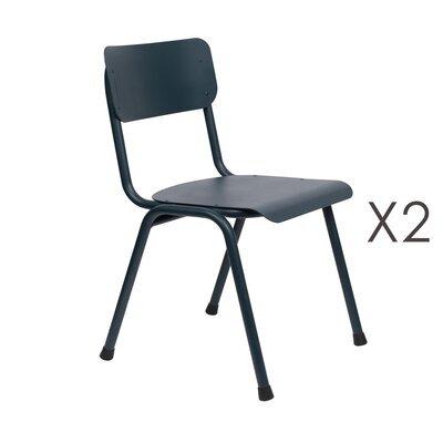 Lot de 2 chaises de jardin en aluminium bleu foncé - BACK TO SCHOOL