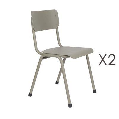 Lot de 2 chaises de jardin en aluminium gris - BACK TO SCHOOL