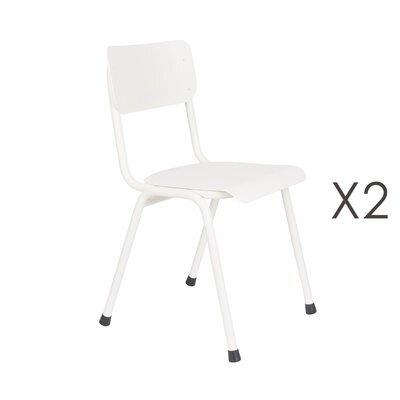 Lot de 2 chaises de jardin en aluminium blanc - BACK TO SCHOOL