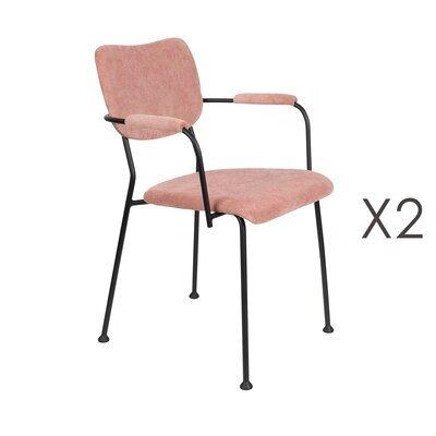 Lot de 2 fauteuils repas en tissu rose - BENSON