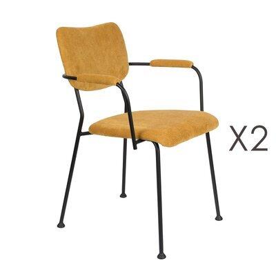 Lot de 2 fauteuils repas en tissu ocre - BENSON