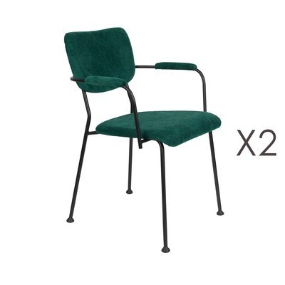 Lot de 2 fauteuils repas en tissu vert foncé - BENSON