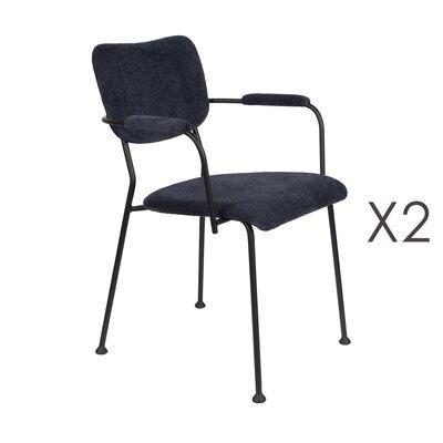 Lot de 2 fauteuils repas en tissu bleu foncé - BENSON