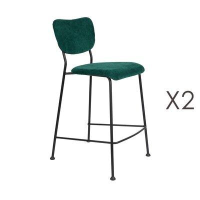 Lot de 2 tabourets de bar H65 cm en tissu vert foncé - BENSON