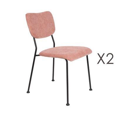 Lot de 2 chaises repas en tissu rose - BENSON