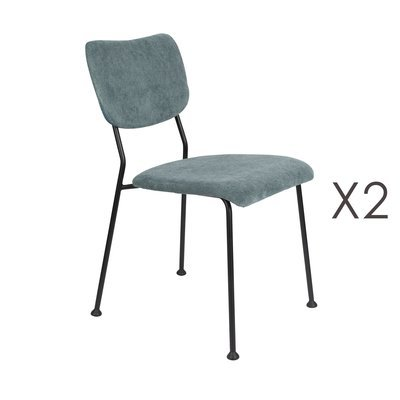 Lot de 2 chaises repas en tissu bleu - BENSON