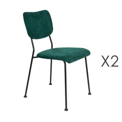 Lot de 2 chaises repas en tissu vert foncé - BENSON