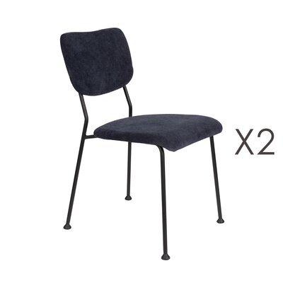 Lot de 2 chaises repas en tissu bleu foncé - BENSON