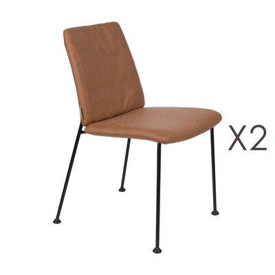 Lot de 2 chaises repas en tissu marron - FAB