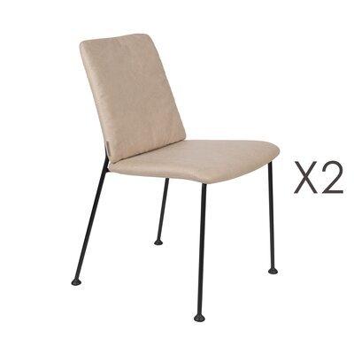 Lot de 2 chaises repas en tissu beige - FAB