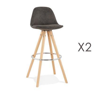 Lot de 2 chaises de bar H75 cm en tissu gris foncé - CIRCOS