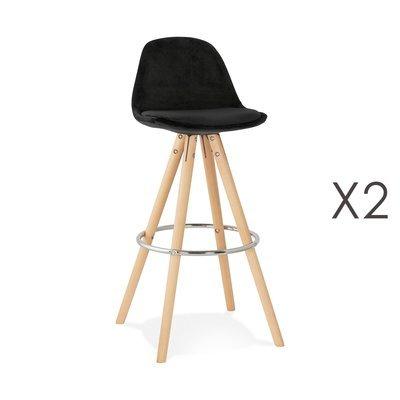 Lot de 2 chaises de bar H75 cm en tissu noir - CIRCOS
