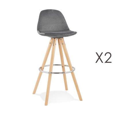 Lot de 2 chaises de bar H75 cm en tissu gris - CIRCOS
