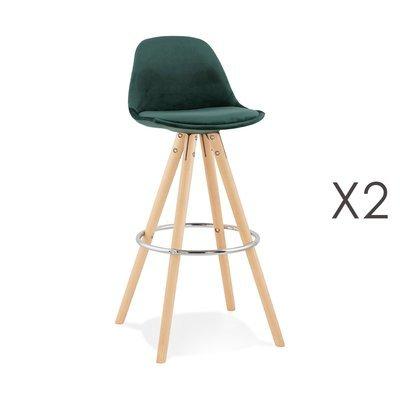 Lot de 2 chaises de bar H75 cm en tissu vert foncé - CIRCOS