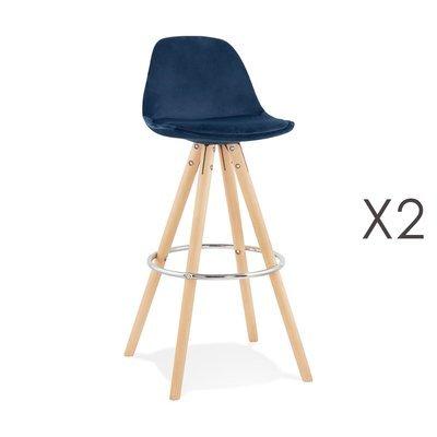 Lot de 2 chaises de bar H75 cm en tissu bleu foncé - CIRCOS