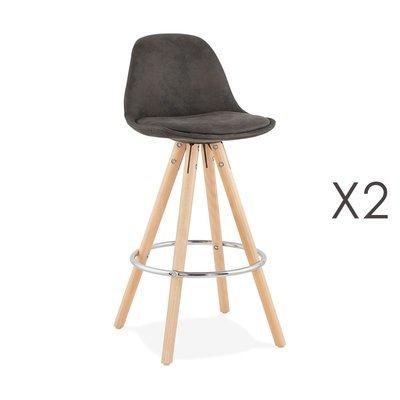 Lot de 2 chaises de bar H65 cm en tissu gris foncé - CIRCOS