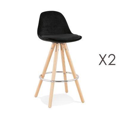Lot de 2 chaises de bar H65 cm en tissu noir - CIRCOS