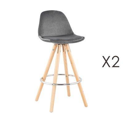 Lot de 2 chaises de bar H65 cm en tissu gris - CIRCOS
