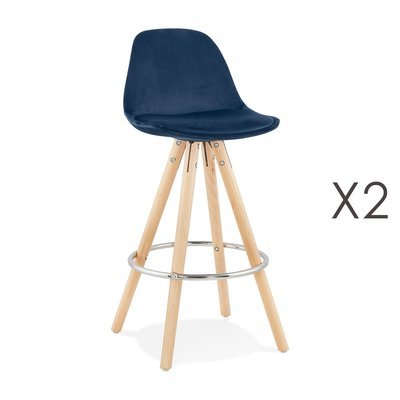 Lot de 2 chaises de bar H65 cm en tissu bleu foncé - CIRCOS