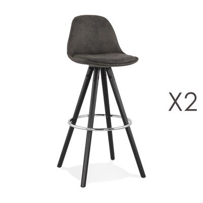Lot de 2 chaises de bar H75 cm tissu gris foncé pieds noirs - CIRCOS