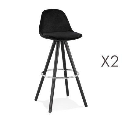 Lot de 2 chaises de bar H75 cm tissu noir pieds noirs - CIRCOS