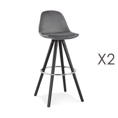 Lot de 2 chaises de bar H75 cm tissu gris pieds noirs - CIRCOS