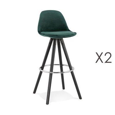 Lot de 2 chaises de bar H75 cm tissu vert foncé pieds noirs - CIRCOS