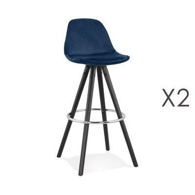 Lot de 2 chaises de bar H75 cm tissu bleu foncé pieds noirs - CIRCOS