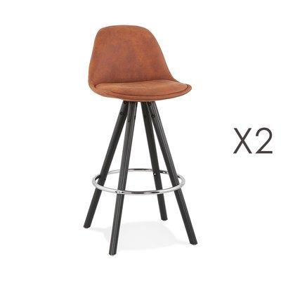 Lot de 2 chaises de bar H65 cm tissu marron et pieds noirs - CIRCOS
