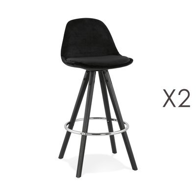 Lot de 2 chaises de bar H65 cm tissu noir pieds noirs - CIRCOS