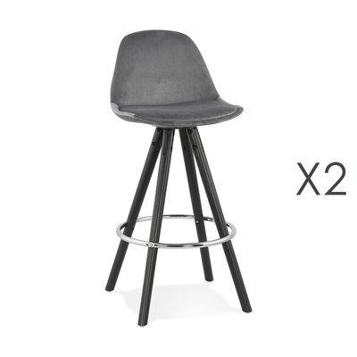 Lot de 2 chaises de bar H65 cm tissu gris pieds noirs - CIRCOS