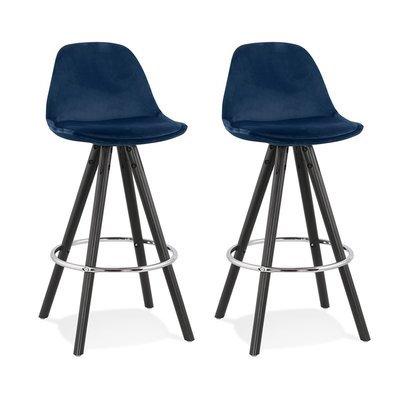 Lot de 2 chaises de bar H65 cm tissu bleu foncé pieds noirs - CIRCOS