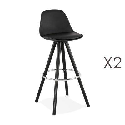 Lot de 2 chaises de bar H74 cm PU noir et pieds noirs - CIRCOS