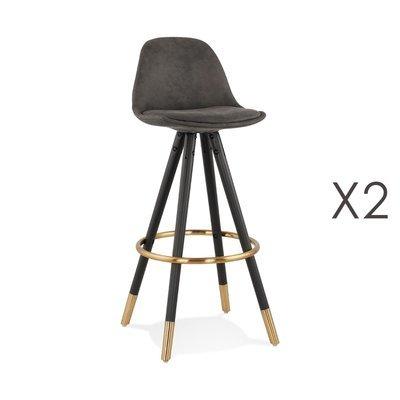 Lot de 2 chaises de bar H75 cm gris foncé pieds noirs dorés - CIRCOS