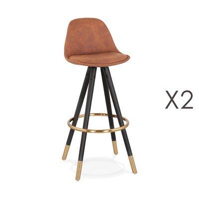 Lot de 2 chaises de bar H75 cm marron pieds noirs dorés - CIRCOS