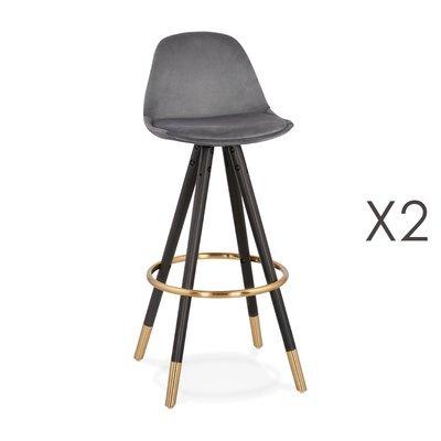 Lot de 2 chaises de bar H75 cm gris pieds noirs et dorés - CIRCOS
