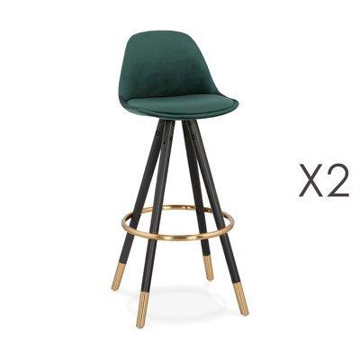 Lot de 2 chaises de bar H75 cm vert pieds noirs et dorés - CIRCOS