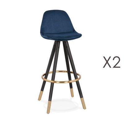 Lot de 2 chaises de bar H75 cm bleu pieds noirs et dorés - CIRCOS