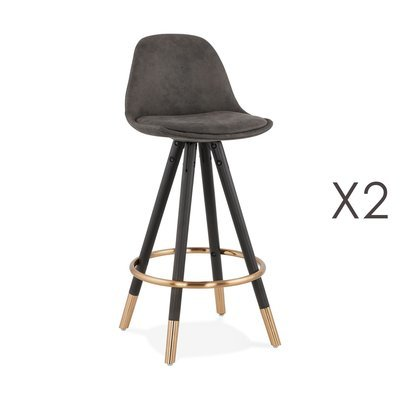 Lot de 2 chaises de bar H65 cm gris foncé pieds noirs dorés - CIRCOS