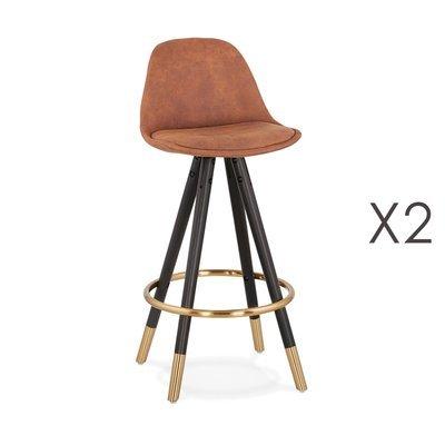 Lot de 2 chaises de bar H65 cm marron pieds noirs dorés - CIRCOS