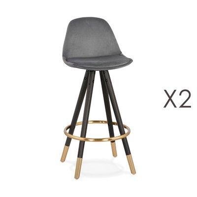 Lot de 2 chaises de bar H65 cm gris pieds noirs et dorés - CIRCOS